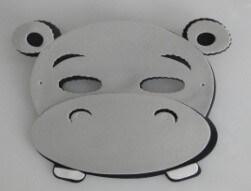 Máscara Infantil Hipopótamo em EVA