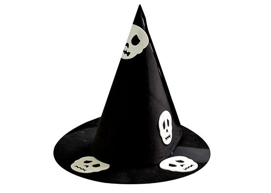 Chapéu de Bruxa Preto Caveira