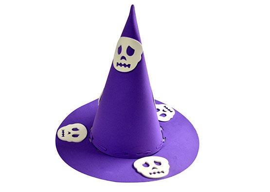 Chapéu de Bruxa Roxo Caveira